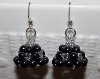 Dark blue & grey beaded handmade earrings; beadweaving
