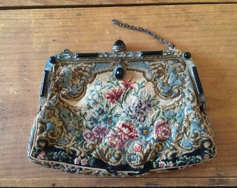 Needlepoint Clutch Purse Made in Austria
