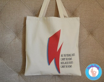 Boogaloo Dudes - David Bowie Tote Bag - Rock and Roll Accessories - Ziggy Stardust Canvas Tote Bag - Starman - All The Young Dudes