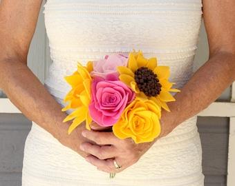 Felt flower bouquet - wedding bouquet - felt flower bouquet