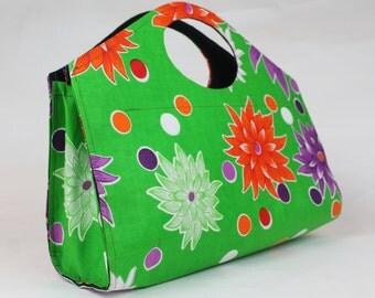 Handmade Green, White, Orange & Purple Floral Handbag