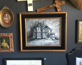 Haunted Victorian House Painting in Velvet and Gold Frame
