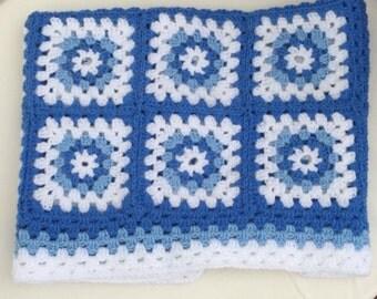 Handmade crochet baby blanket.  Granny squares