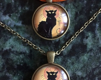 Le Chat Cabochon Necklace in Antique Bronze on organza necklace