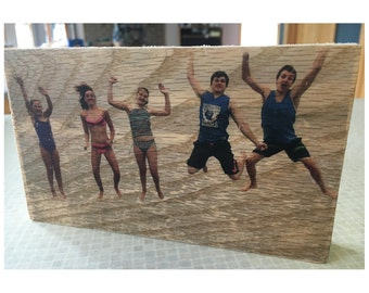 Custom Rustic Wood Photo Block - Freestanding