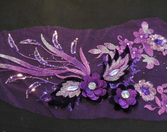 Luxury Large piece of Purple & lilac sequins beaded floral lace Applique / beaded lace motif is for sale.  sold by per piece