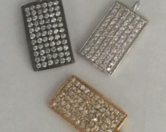 pave white topaz sterling silver charm pendant