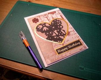 Large handmade steampunk inspired papercut cogs birthday card
