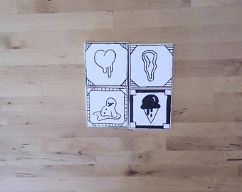 "Four 3x3"" Mini Canvas Melting Drawing Collectibles"