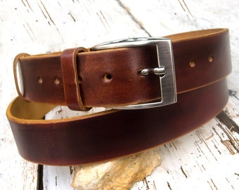 Men's leather belt, Jeans leather belt, Chocolate brown leather belt, Distressed leather belt