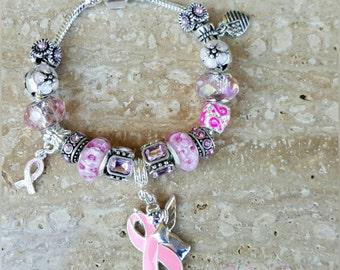 Breast cancer; Pink ribbon awareness European Charm bracelet