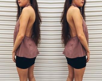 Handmade Womens Backless High Neck Top // Brown