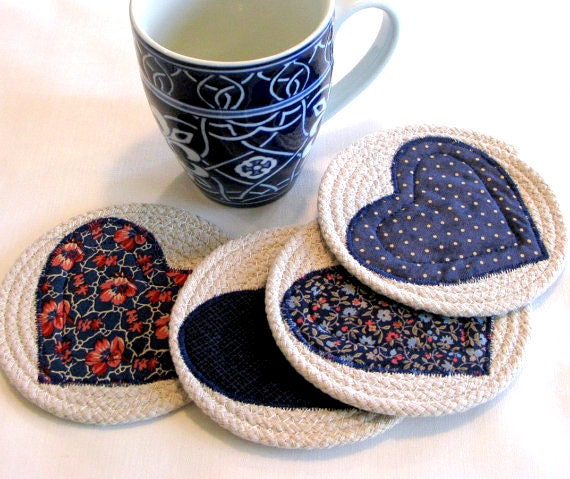 Coasters/Coiled Fabric Coasters/Mug Rugs/Trivets/Shabby Chic/Candle ...
