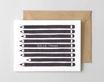Hello Pencils Letterpress Greeting Card