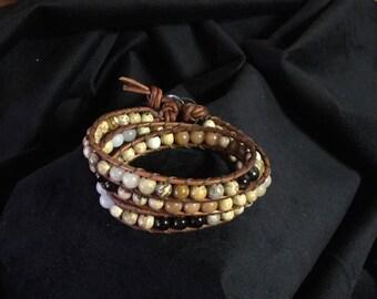 Beautiful triple wrap stone leather bracelet, chan luu style jewelry, bohemian leather wrap beaded