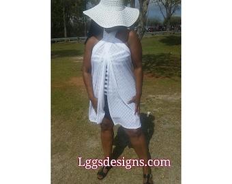 White Waffled Bathing suit coverup