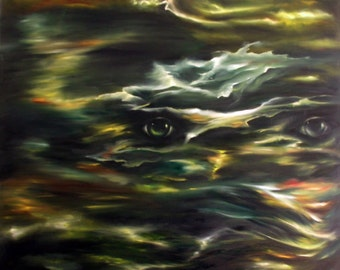 Abstract oil painting night