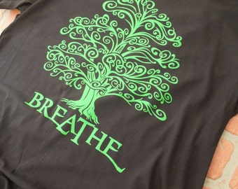 Breathe Green Tree Graphic T-Shirt/Environmental T-Shirt/Eco-Conscious T-Shirt/Save the Planet/Tree Hugger Shirt/Tree Preservation/Arbor Day