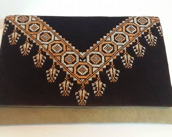 Handcrafted Embroidery Flap clutch  made of natural Garments :Cotton & goat leather .