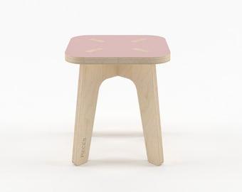 Pink wood stool, wooden step stool, kids furniture, kids stool, wood stools, step stool, toddler stool, folding step stool