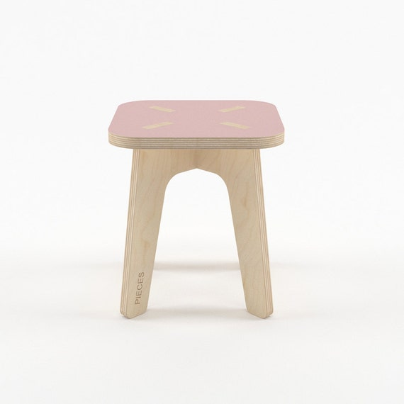 Pink Wood Stool Wooden Step Stool Kids Furniture Kids
