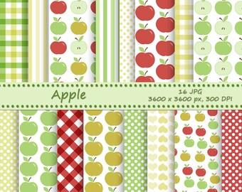 Apple digital paper pack - 16 printable jpeg papers - instant download - Printable backgrounds