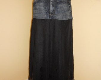 Upcycled jean and black sequined skirt