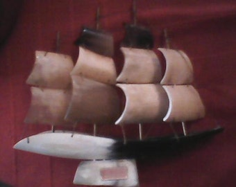 Vintage Genuine Horn Ship Made In Italy