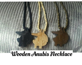 Wooden Beaded Anubis Necklace,Ma'at,Egyptian
