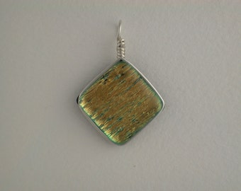 Yellow/Gold Dichroic Glass Pendant with Silver wire wrap