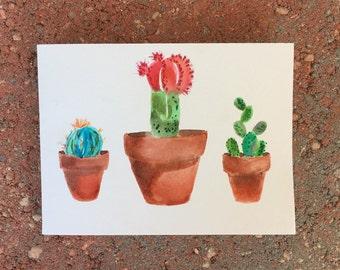 Watercolor Cacti Card (Blank)