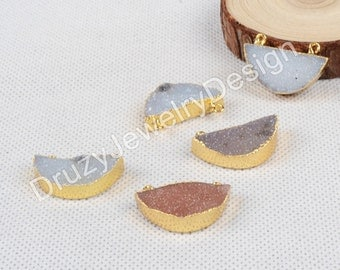 Natural Half Moon Agate Druzy Geode Connetor,Double Bails,Gold Plated,Druzy Jewelry,Making Jewelry,JD0662-G