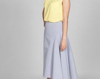 Panel Midi Skirt Marine Stripe
