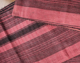 Pink striped recycled hemp/cotton - Vintage handwoven hemp  cotton mix with traditional striped pattern -  recycled fabric