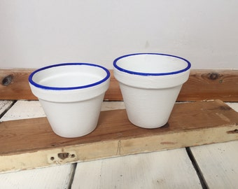 Pair of rustic hand-painted plant pots