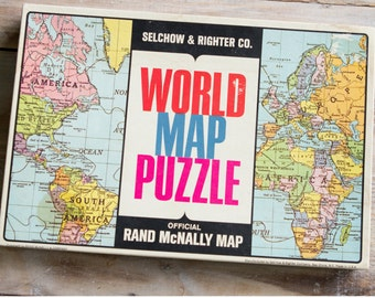Vintage World Map Puzzle - Rand McNally Map Puzzle - Complete