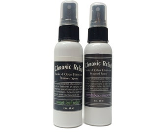 2 pack Smoke & Odor Eliminator Personal Spray - Chronic Relief - All Natural - 2oz. - Sweet Leaf Relief/Weedaboo Smooth