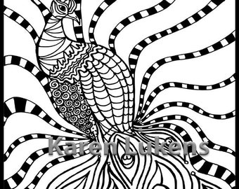 Peacock, 1 Adult Coloring Book Page, Printable Instant Download