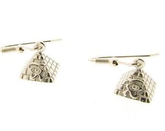 Sterling Silver Eye of Horus Pyramid Drop Earrings