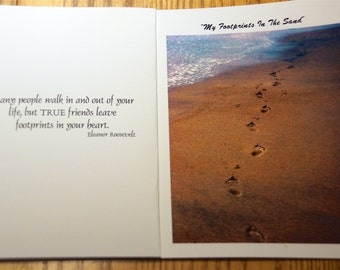 My Footprints In The Sand Photo Note Cards  (Set of 6 cards and envelopes)