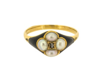 Victorian Memorial Ring with Black Enamel and Split Pearls