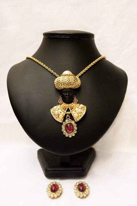 Bijoux Vintage Christian Dior : Christian dior bijoux blackamoor necklace brooch earrings