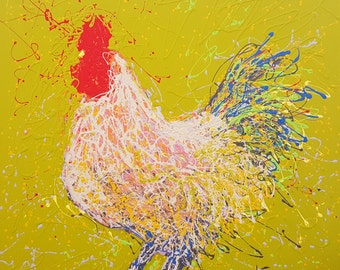 Colorful rooster art print//Colorful chicken art print//Kitchen wall decor//Abstract chicken wall art//Farm animal art print//Barn animal