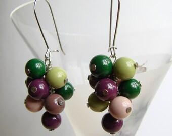 Colorful Dangle Earrings, Silver Tone Earrings with Glass Beads, Pastel Colors Earrings, Beaded Earrings, Purple and Green