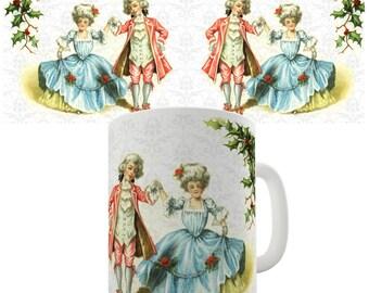 Christmas Card Dancing Children Ceramic Novelty Mug