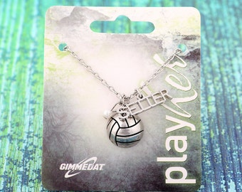 Customizable Silvertoned Volleyball Setter Necklace - Personalize with Jersey Number, Heart Charm, or Letter Charm! Great volleyball gift!