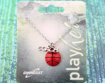 Customized Enamel Basketball Coach Necklace - Personalize with Heart Charm or Letter Charm! Great Basketball Gift!