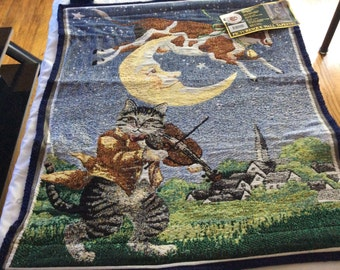 The Cow Jumped Over The Moon Picturesque Wall Tapestry