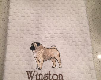 Pug Kitchen Towel WITH or WITHOUT Personalization