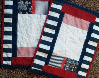 Red, White and Blue Quilted Placemats